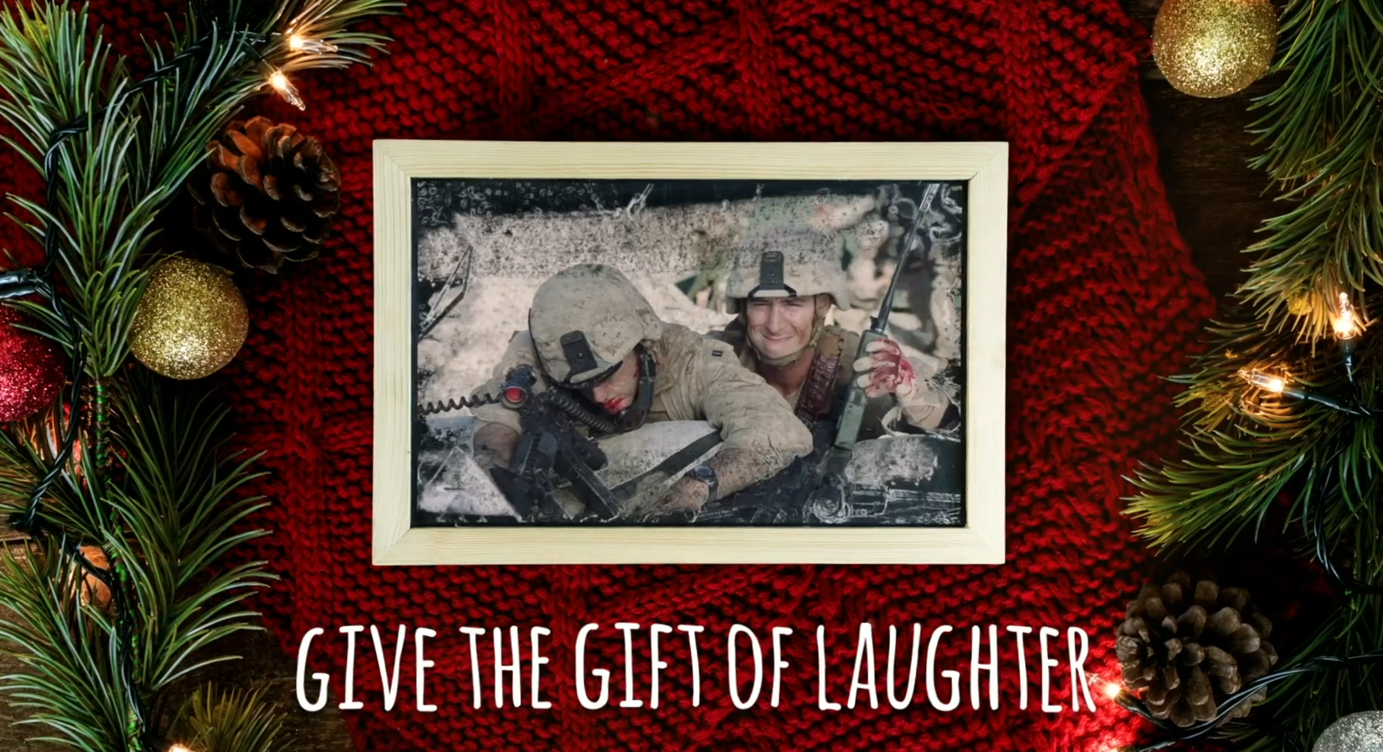 Two soldiers appear on a Christmas card.